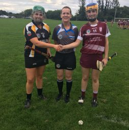 Clarecastle Ballyea captain Jane Flanagan, ref Aine Nic Cormaic and St Joseph's captain Caoimhe Hoey